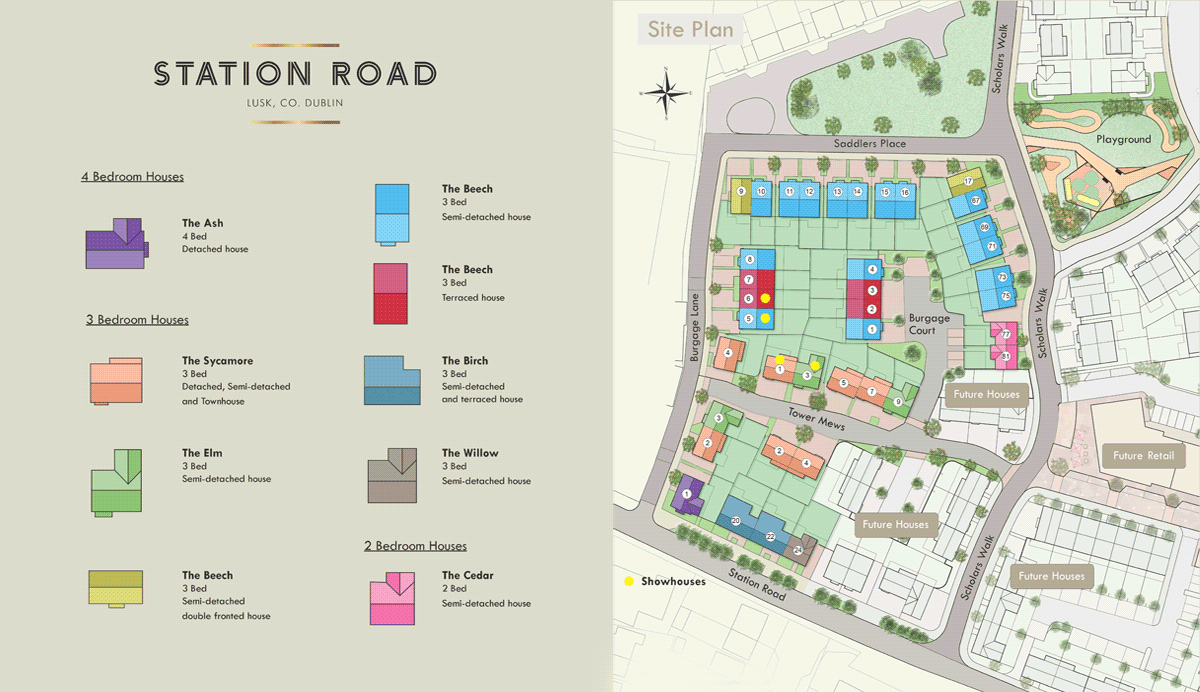 Graphic of Station Road House Types and Site Map